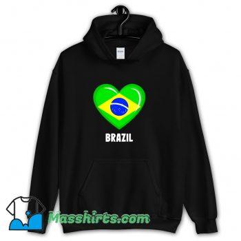 Cheap Brazil Flag Heart Hoodie Streetwear