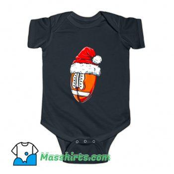 Classic Christmas Football Ball Santa Hat Baby Onesie