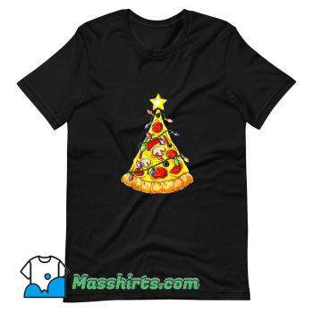 Classic Pizza Christmas Tree Lights T Shirt Design