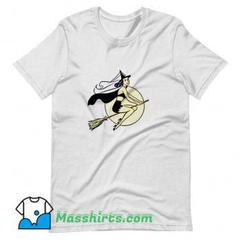 Cute Witch Halloween Broom T Shirt Design