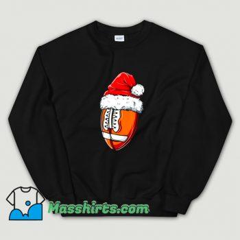 Funny Christmas Football Ball Santa Hat Sweatshirt
