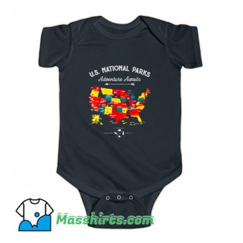 National Parks Map Camping Haiking Baby Onesie