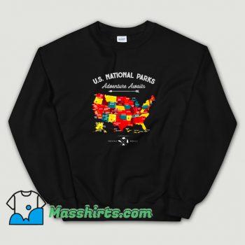 National Parks Map Camping Haiking Sweatshirt On Sale