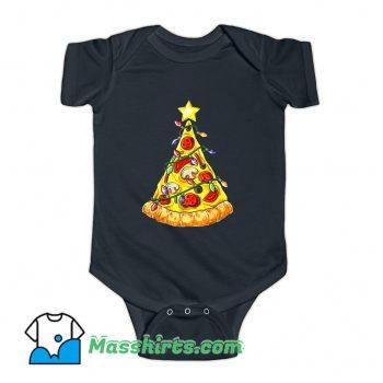 Pizza Christmas Tree Lights Baby Onesie