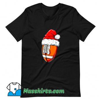 Vintage Christmas Football Ball Santa Hat T Shirt Design